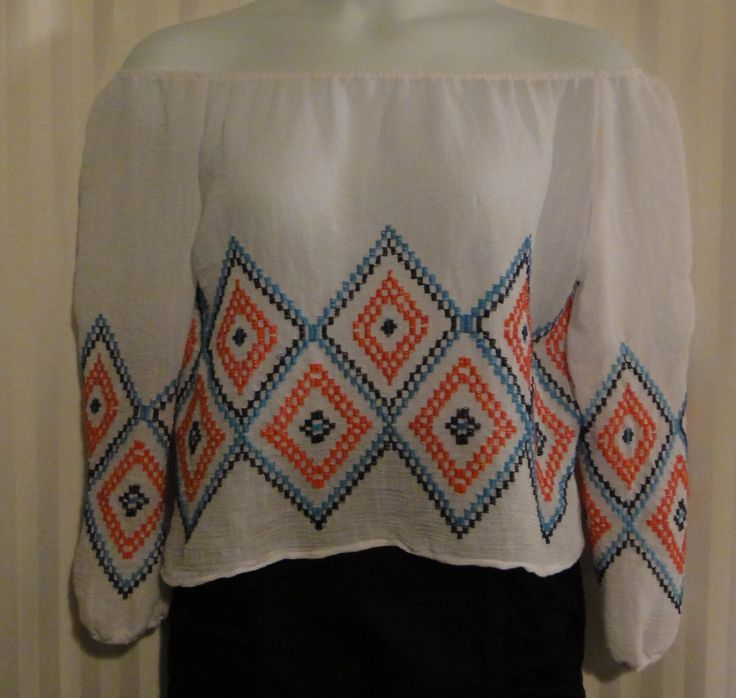 Pretty Boho Peasant off the Shoulder style  Blouse available now at ChicCentSations eBay Store.