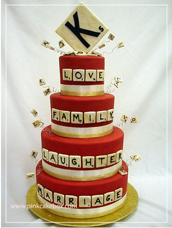 Unusual wedding cake and wedding dessert ideas - Do you and your partner love playing a particular board game? How about a Monopoly cake, a backgammon cake, or a Scrabble cake where you can really have fun with the tiles and words!