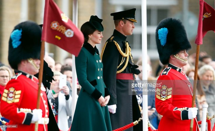 (EMBARGOED FOR PUBLICATION IN UK NEWSPAPERS UNTIL 48 HOURS AFTER CREATE DATE AND TIME) Catherine, Duchess of Cambridge and Prince William, Duke of Cambridge (in his role as Colonel of the Irish Guards) attend the annual Irish Guards St Patrick's Day Parade at Cavalry Barracks on March 17, 2017 in London, England. (Photo by Max Mumby/Indigo/Getty Images)