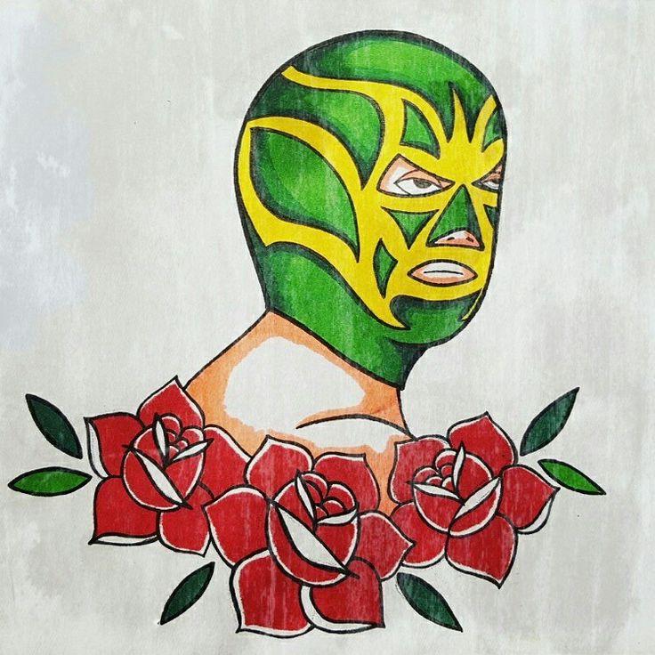 An advance of 5 de mayo flashes! 😉 #tattoo #ink #inklosangeles #traditional #traditionaltattoo #wrestler #wrestlertattoo #mexican #mexicantattoo #drawing #tattooflash #colorpencil #colortattoo #futuretattoo #losangelestattoo #losangeles #silverlake #california  #californiatattoo #latinatattoo #latinatattooartist #makittaboom #sehablaespañol #bodyart