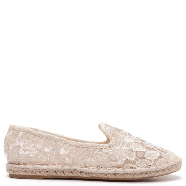 Beige espadrilles with lace and embroided flower pattern.