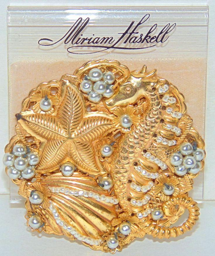 VINTAGE signed Miriam Haskell Gold Gilded Pearled Seahorse Original Plastic Tag #MiriamHaskell