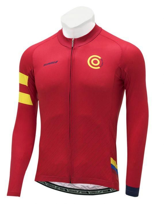 016179b35  Suarez  menscycling  cyclingjersey  sportswear  Colombia  velo   cyclingapparel  cyclingkit  red  longsleeve