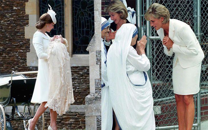 ORIGINALBILDENE: Det er altså disse to bildene som er redigert sammen. Første bildet er hentet fra prinsesse Charlottes dåp i juli. Bildet av prinsesse Diana og Mor Teresa er hentet fra 1997 - to måneder før Diana døde. Foto: Stella Pictures