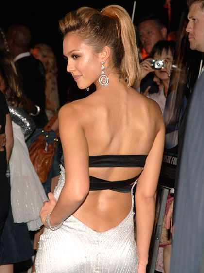 Jessica Alba at the 2005 premiere of Fantastic Four in New York City with a voluminous high ponytail | allure.com