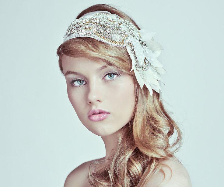 Crystal And Silk Head Bandou, Crystal Headwrap, Dridal headdress by TandSugarArtStudio on Etsy