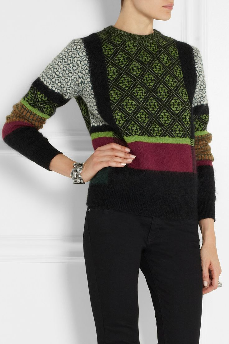 Toga | Intarsia mohair-blend sweater | NET-A-PORTER.COM ..... Inspiration and loving these colours of the green and plum/ together
