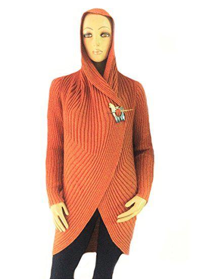 lange rote offene damen jacke kapuzen strickjacke peruanische alpakawolle xl damen. Black Bedroom Furniture Sets. Home Design Ideas