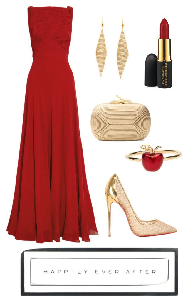 Red at night by sapphirereport on Polyvore featuring polyvore, fashion, style, Yves Saint Laurent, Christian Louboutin, Diane Von Furstenberg, Alison Lou, MAC Cosmetics and Vintage Playing Cards