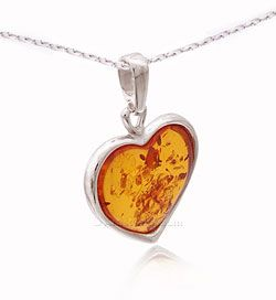 Beautiful Silver and Amber Heart Necklace $44.95 and Free U.S. Shipping at ArtistGifts.com