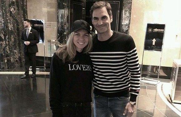 Simona Halep, alaturi de Roger Federer