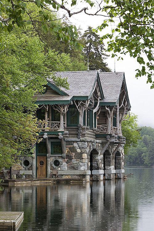 whitedogblog: Adirondack cabin with boat house... - crescentmoon