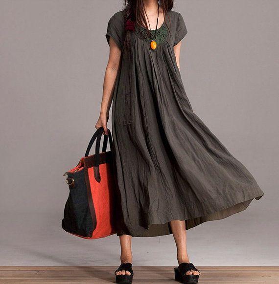 Comfort Linen Maxi Dress / Unique Summer crochet army green round neck short-sleeved loose dress via Etsy