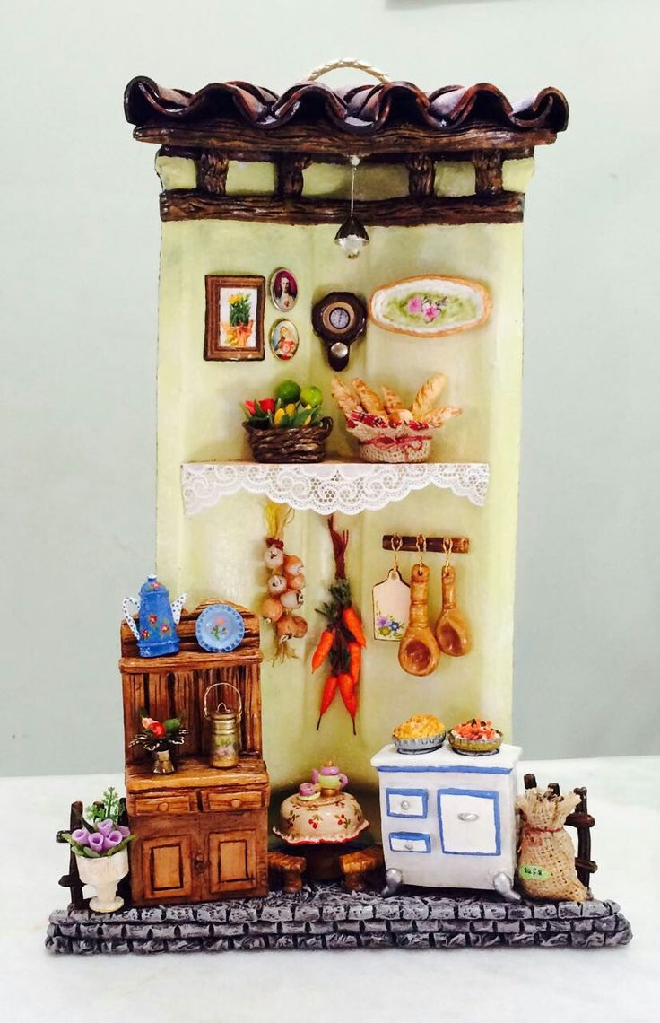 Mini cozinha em telha de cerâmica.
