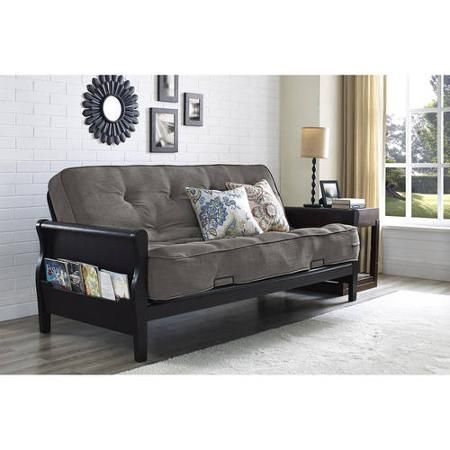 Better Homes and Gardens Wood Arm Futon with Coil Mattress - Walmart.com