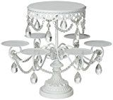 Isabelle Collection White 12 Inch Metal Cake Stand, Round Wedding Birthday Party Dessert Cupcake Pedestal Display Plate