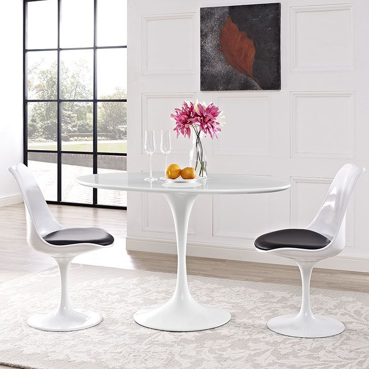 White Table With Wood Top Part - 45: Modway Furniture Modern Lippa Oval-Shaped Wood Top Dining Table In White