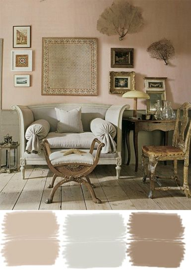 love the soft pinks and browns in this room