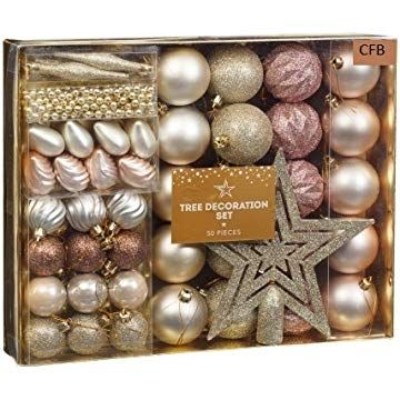 Brand New Christmas Tree Decoration Set 50pc - Rose Gold All