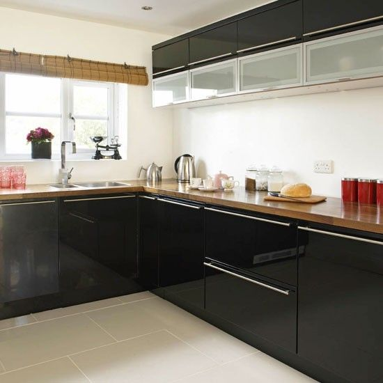 Love The Colours In This Kitchen Raspberry Paint Walnut: Black Gloss Units Walnut Worktop - Google Search