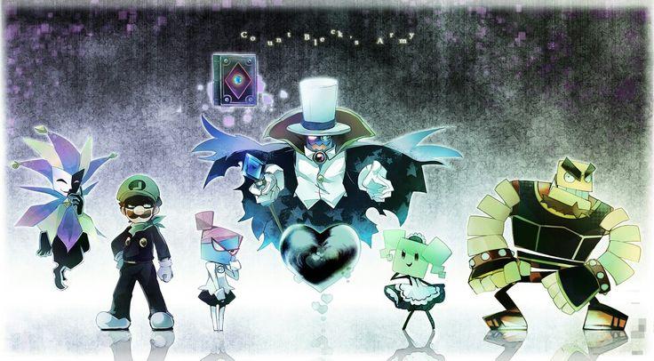 The crew - Dimentio, Mr. L, Natasia, Count Bleck, Mimi, and O'Chunks - Super Paper Mario