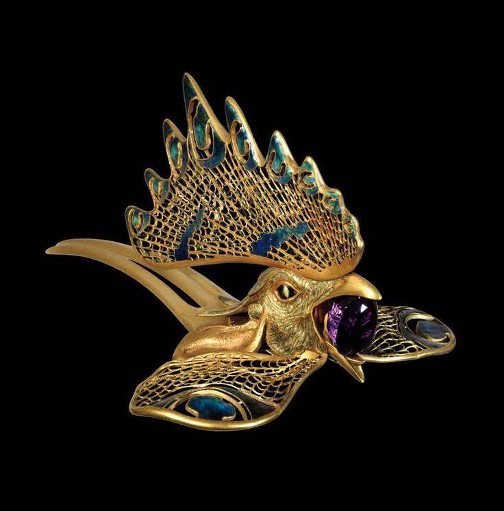 René Lalique. Diadem - Gold, enamel, horn, amethist 1897 - 1898.