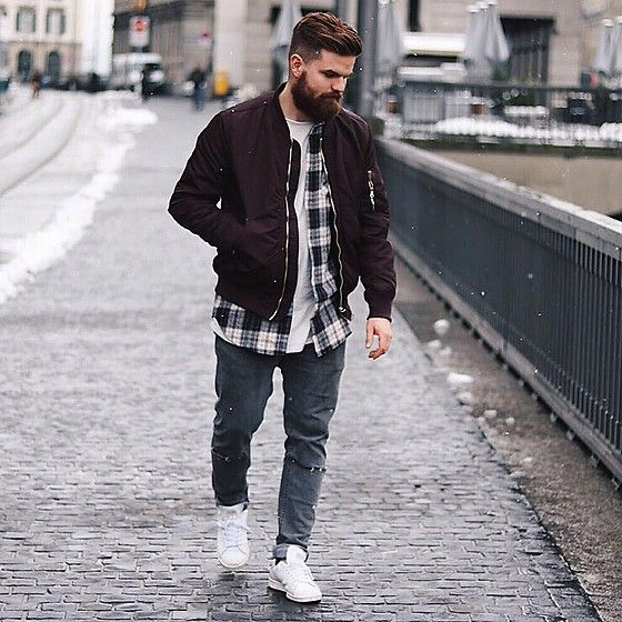 Get this look: http://lb.nu/look/8104480  More looks by Luca Andrea: http://lb.nu/lucaandrea  Items in this look:  H&M Bomber, Bershka Shirt, Topman Jeans, Stansm Smith Trainers