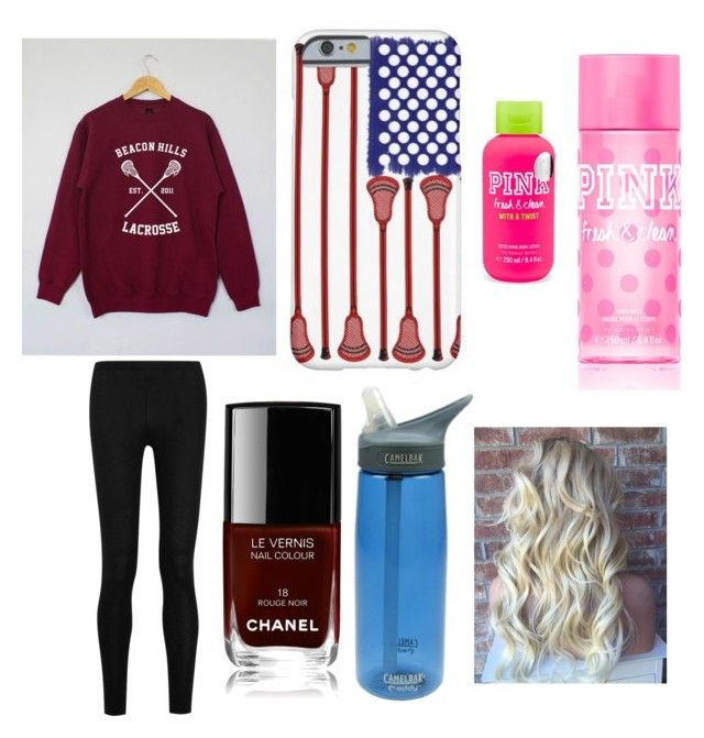"""""""Lacrosse game"""" by mbakovic ❤ liked on Polyvore featuring Donna Karan, CamelBak, Chanel and Victoria's Secret PINK"""