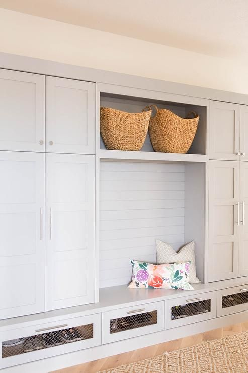 Mudroom Storage Drawers : Gray mudroom with chicken wire drawers transitional