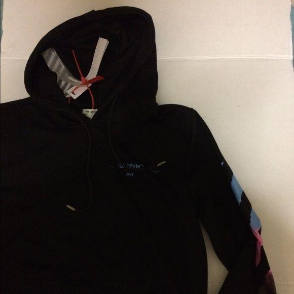 Off White Hooded Sweatshirt Black Multi