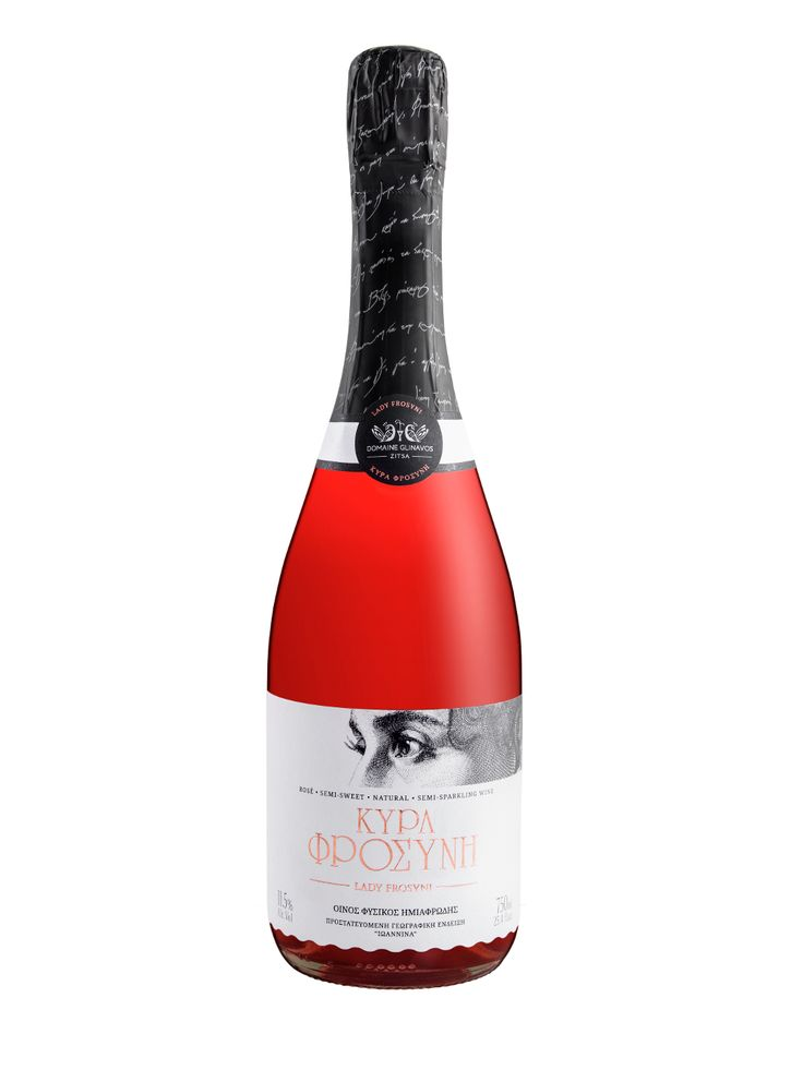 Lady Frosyni is a notably expressive semi-sparkling, semi-sweet rose wine with complex aromas, intense flavour of ripened grapes, distinctive and pungent taste. It is produced from the indigenous varieties, Debina and Bekari.