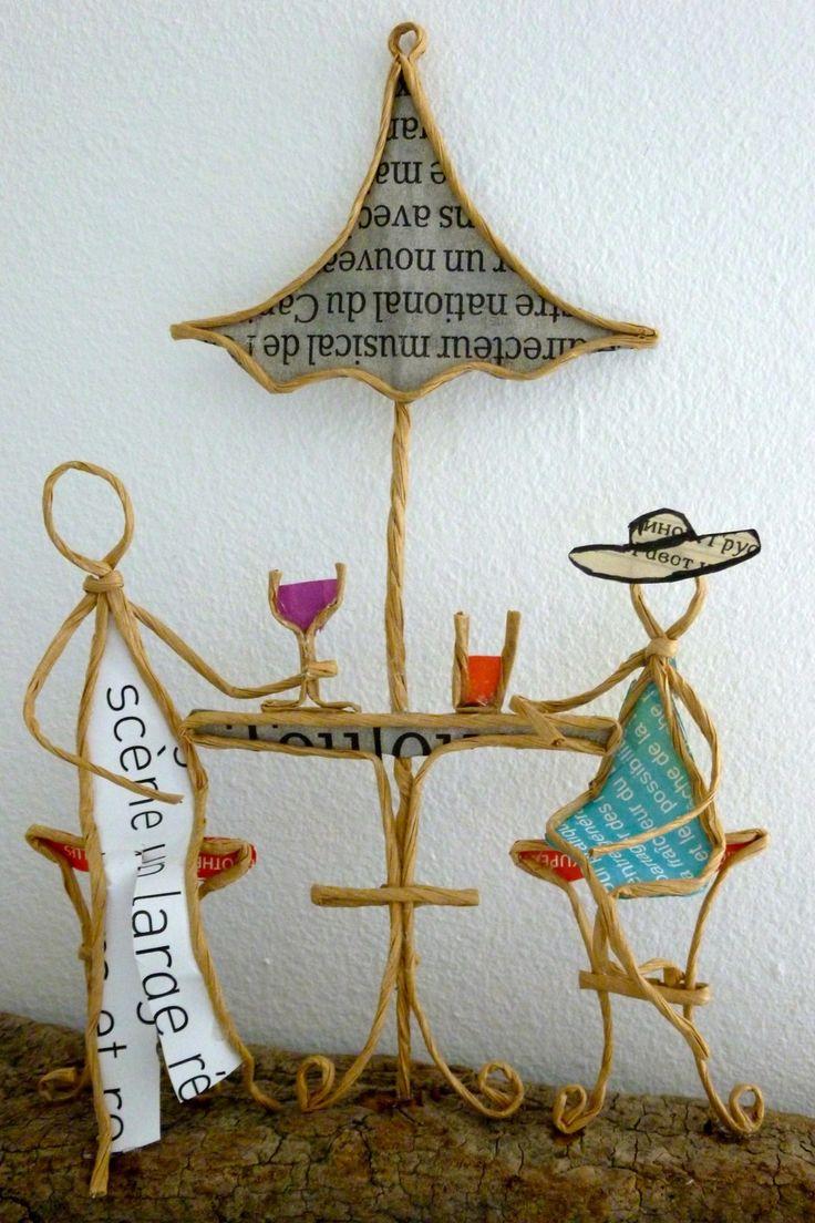 A la terrasse d'un café - figurines en ficelle et papier : Accessoires de maison par ficelleetpapier