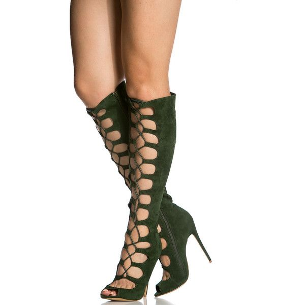 CiCiHot Olive Faux Suede Lace Up Gladiator Heels (1090 MXN