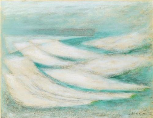 Storm at Fecamp - Josef Sima - Abstract Art, 1954
