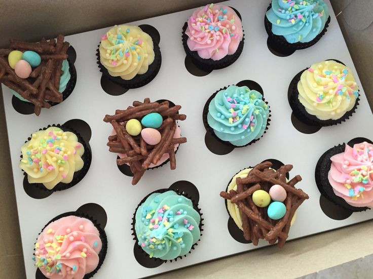 Easter cupcakes with chocolate easter egg nests. Follow my instagram @macpherson184 for more cupcake photos