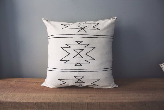 New Mexico Pillow 18 Square Pillow from Little Korboose. Pillow Case is100% organic flour sack cotton, removable and machine washable. Envelope