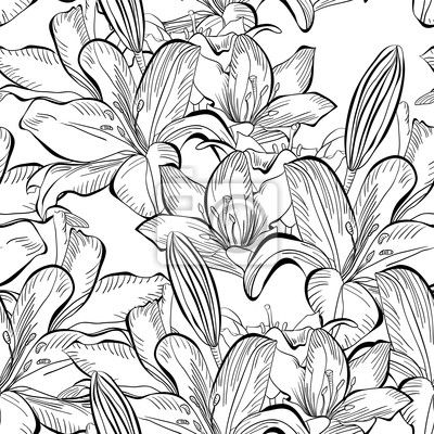 Wall Decal seamless pattern with white lily flowers - ornate • PIXERSIZE.com