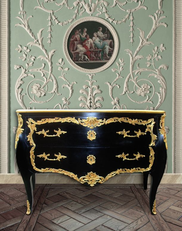 baroque chest of drawers commode of style black louis xv. Black Bedroom Furniture Sets. Home Design Ideas