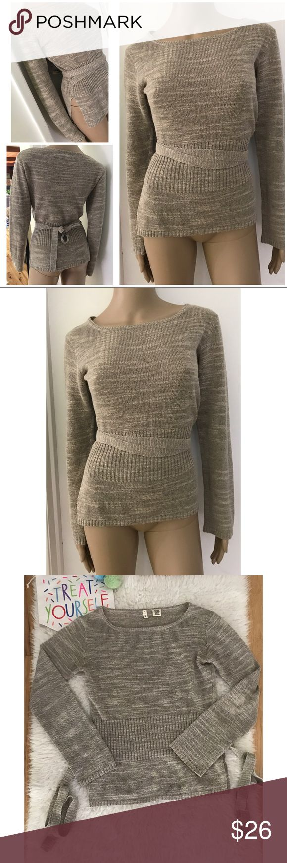 "EUC Anthropologie Moth Knit Waist Tied Sweater In great pre-loved pullover Knit Sweater from Moth in size x-small. Stretch so might fit a small too. Small slit on the side with waist sash belt. In a gray color. Measure about 23"" length, 17"" pit to pit, 22"" sleeves. No major flaws/pilings/snag. In almost a brownish gray color so I a tagging the as brown/gray. ❌No modeling or trades. Always open to reasonable offers. Bundle and save 15%. Thank you‼️ Anthropologie Sweaters Crew & Scoop Necks"