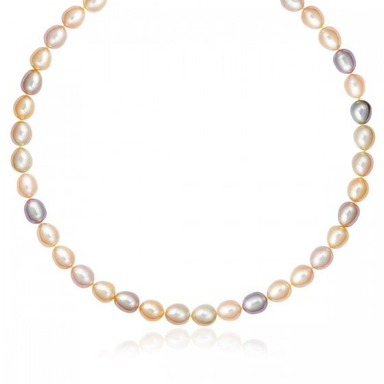 14K Yellow Gold Clasp Pastel Multi-Color Cultured Pearl Necklace