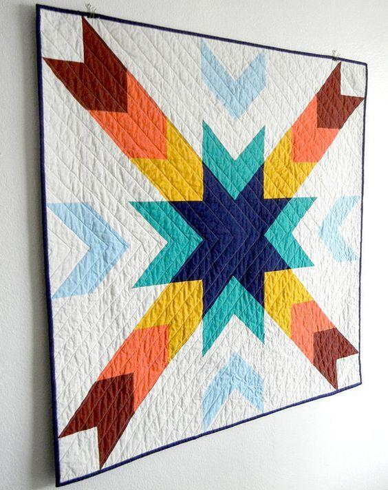 """What a cute, modern """"Cedar Breaks"""" baby quilt by Jennifer Meakins."""