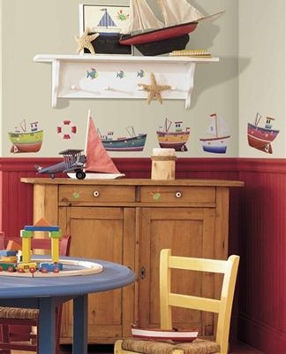 Nautical-Themed Kids Rooms - Nautical Wall Stickers -  Boats, Ship, Anchor, Buoys Wall Decals for Kids Rooms - Ship Wall Decals for Nautical-theme Boys Rooms