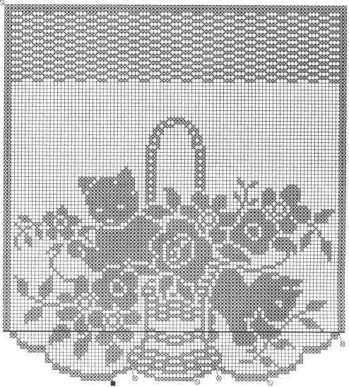 Schema uncinetto tendina con fiori e gatto
