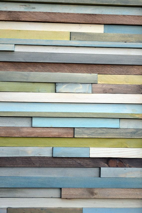 Wood Wall Art   12 x 36  greens blues grays by moderntextures, $275.00