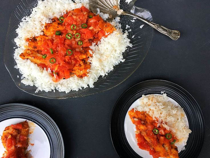 Sweet and Spicy Hake with Roasted Tomatoes #healthyrecipe #vegetarian #glutenfree
