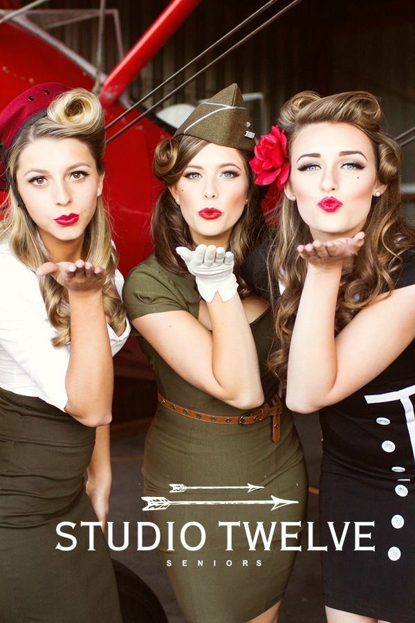our retro military inspired pin up set at the studio twelve senior model shoot middle girls hair for my next halloween costume - Pin Up Girl Halloween Costumes 2017
