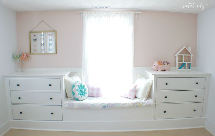 Double Dresser Window Seat Built-In with IKEA Hemnes by Petal + Ply, featured at #DIYLikeaBoss.