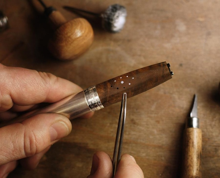 4. The famous small rivets from the traditional knife handles of Forge de Laguiole are carefully set in cap and barrel tubes. Accuracy is requested as the pins need to build a plain surface with the wood.
