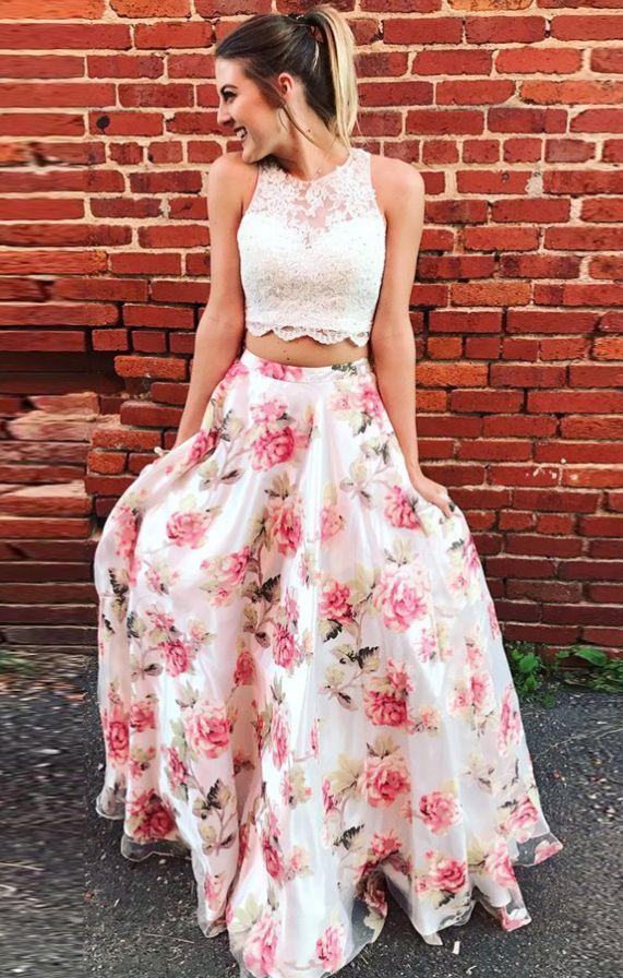 Two Piece Round Neck Floral Chiffon Prom Dress
