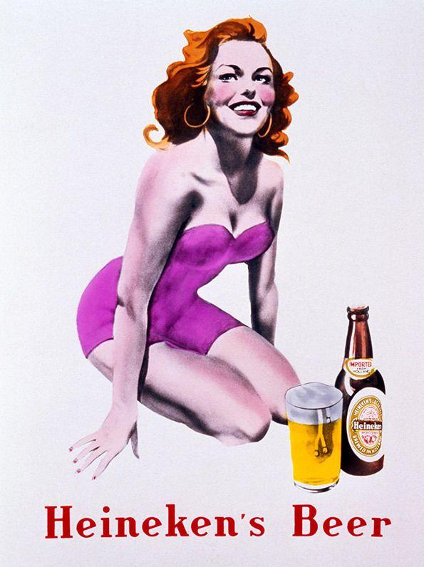 Heneken's beer, Publicidad, Marketing, chicas pin-up, Vintage
